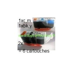 lot:2x PGI520bk,1x CLI8 BK,c,m,y soit 6 cartouches compatibles pour Canon PGI-520bk sans puce