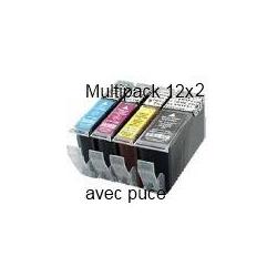 PGI520/CLI521 avec puce: Pack de 24 cartouches