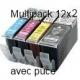 PGI520/CLI521 avec puce: Pack de 24 cartouches compatibles
