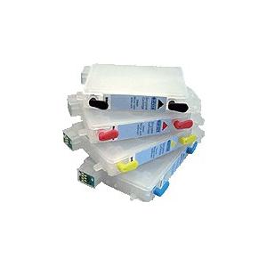 T1281 à 1284: 4 cartouches d'encre vides rechargeables avec puce auto-reset