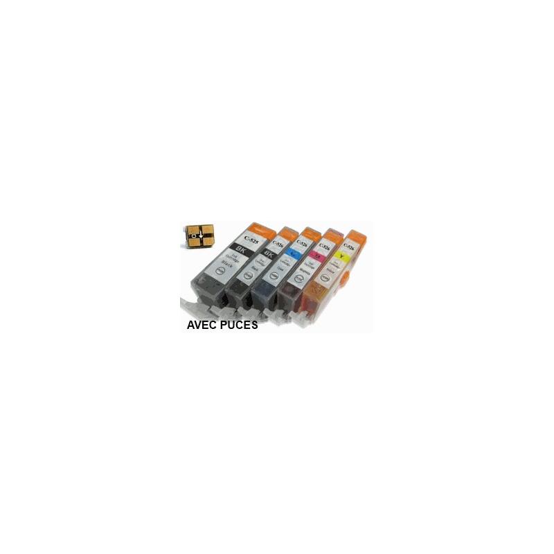 lot PGI525/CLI526 AVEC puces: 5 Cartouches compatibles pour Canon
