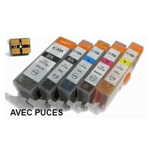 lot PGI525/CLI526 AVEC puces: 6 Cartouches compatibles pour Canon