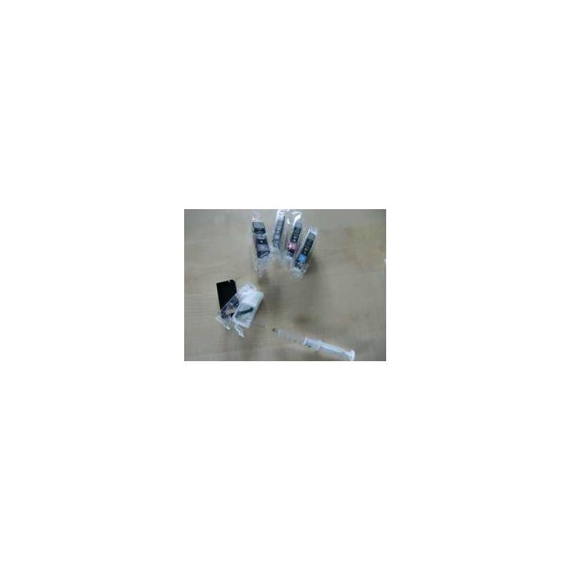 PGI 520, CLI521: Kit 600ml + 5 cartouches  vides à remplir avec puces autoresett