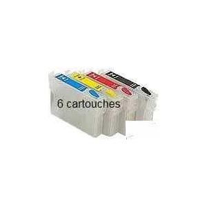 T0801 à806: 6 cartouches d'encre vides rechargeables avec puce auto-reset