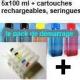 Pack PGI525/526 + 5 cartouches rechargeables avec puces autoreset