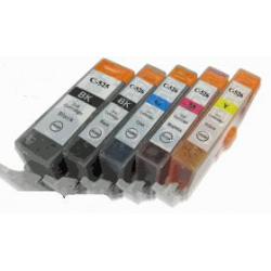 5 Cartouches compatibles pour Canon PGI-520bk avec puce