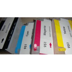 HP950/951 :4 cartouches rechargeables avec puces pour cartouches HP