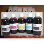 PGI550/CLI551: Kit de 5 cartouches vides rechargeables  avec PUCEs autoreset + 5x100 ml encres
