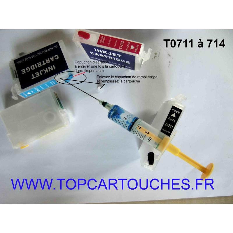 T0711 à 714: 1 cartouche vids avec puce auto-reset, couleur au choix